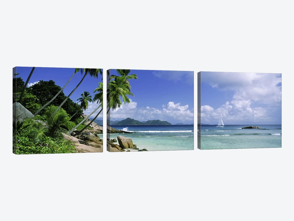 Coastal Landscape With A Distant View Of Praslin Island From Anse Severe Beach, La Digue, Seychelles by Panoramic Images 3-piece Canvas Artwork