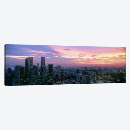 High angle view of a city at sunset, Singapore City, Singapore Canvas Print #PIM9788} by Panoramic Images Art Print