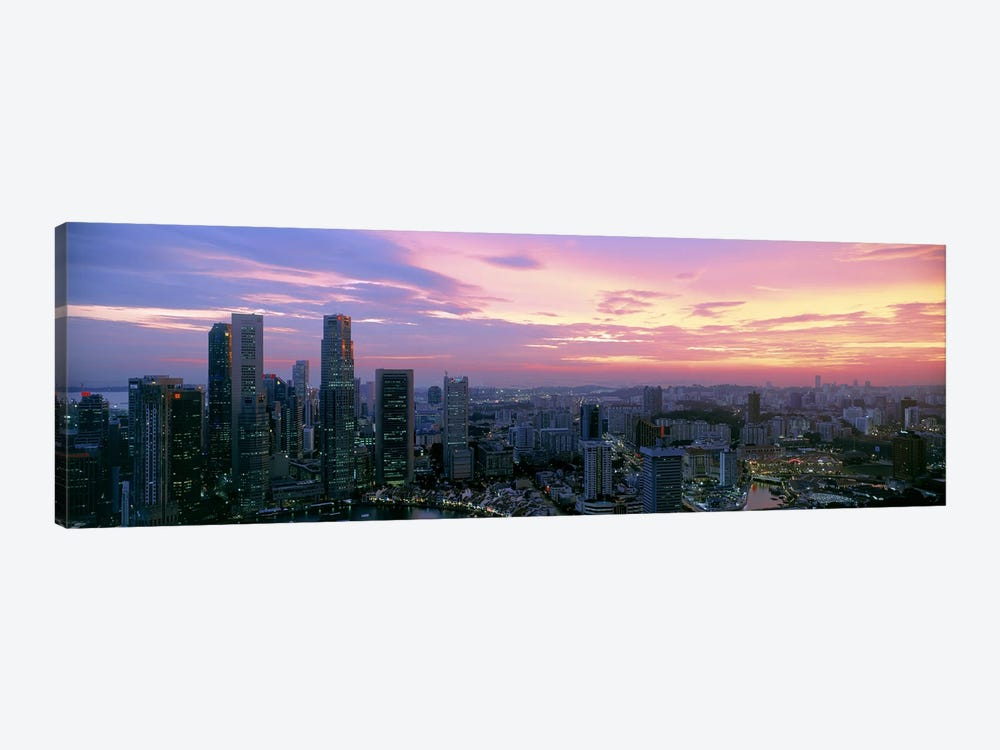 High angle view of a city at sunset, Singapore City, Singapore by Panoramic Images 1-piece Canvas Art