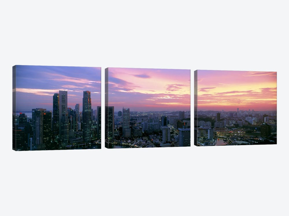 High angle view of a city at sunset, Singapore City, Singapore by Panoramic Images 3-piece Canvas Artwork