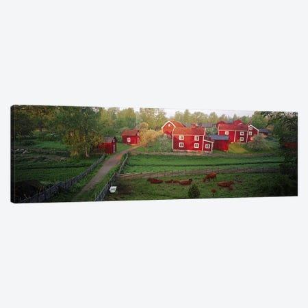 Traditional red farm houses and barns at village, Stensjoby, Smaland, Sweden Canvas Print #PIM9791} by Panoramic Images Canvas Wall Art