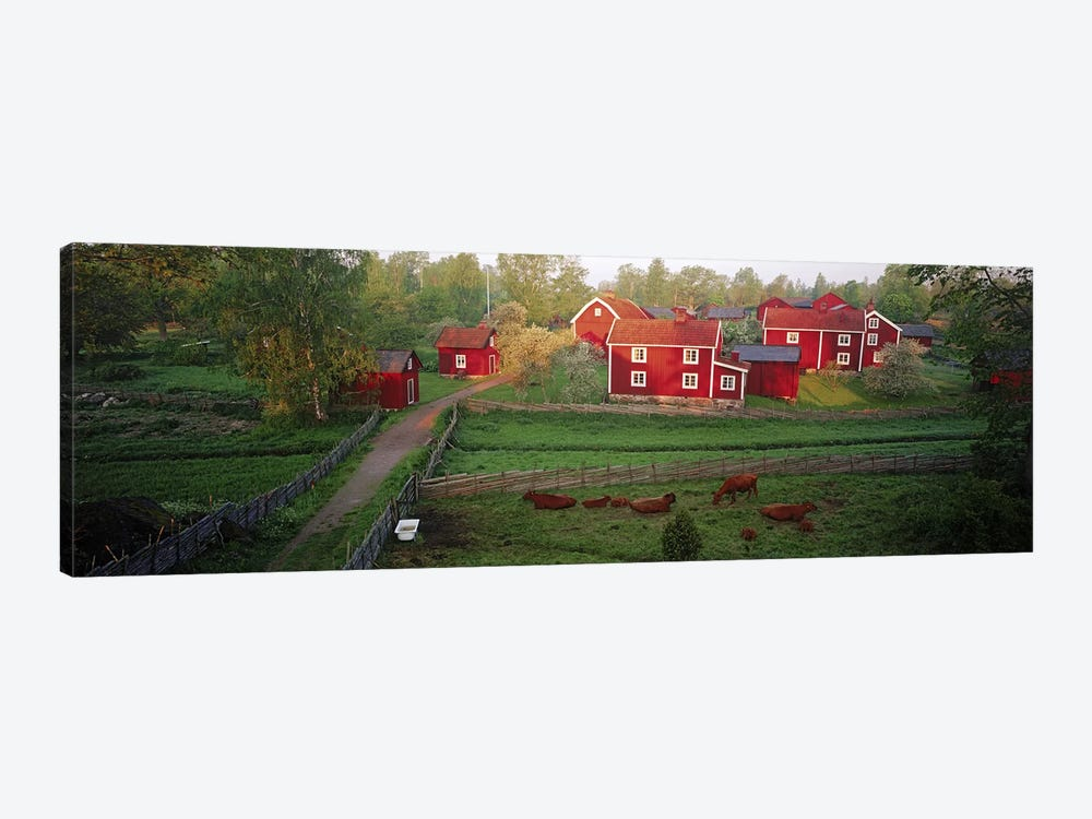 Traditional red farm houses and barns at village, Stensjoby, Smaland, Sweden by Panoramic Images 1-piece Canvas Art