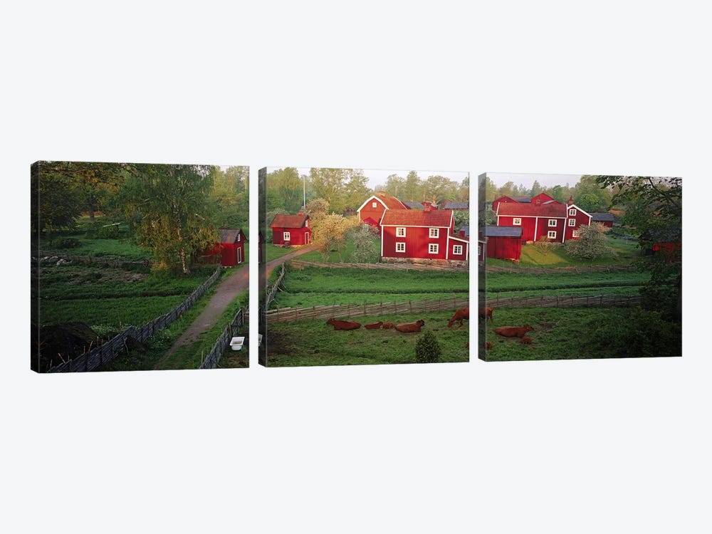 Traditional red farm houses and barns at village, Stensjoby, Smaland, Sweden by Panoramic Images 3-piece Canvas Art