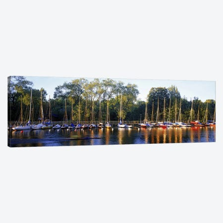 Sailboats moored at a dock, Langholmens Canal, Stockholm, Sweden Canvas Print #PIM9797} by Panoramic Images Canvas Art Print