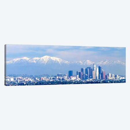Buildings in a city with snowcapped mountains in the background, San Gabriel Mountains, City of Los Angeles, California, USA Canvas Print #PIM979} by Panoramic Images Canvas Artwork