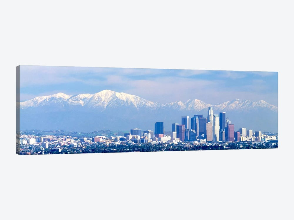 Buildings in a city with snowcapped mountains in the background, San Gabriel Mountains, City of Los Angeles, California, USA by Panoramic Images 1-piece Canvas Wall Art