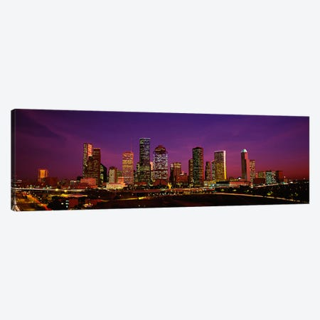 Buildings lit up at night, Houston, Texas, USA Canvas Print #PIM97} by Panoramic Images Canvas Wall Art