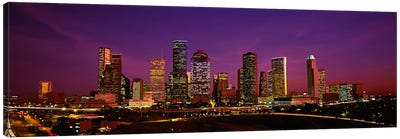 Buildings lit up at night, Houston, Texas, USA Canvas Art Print