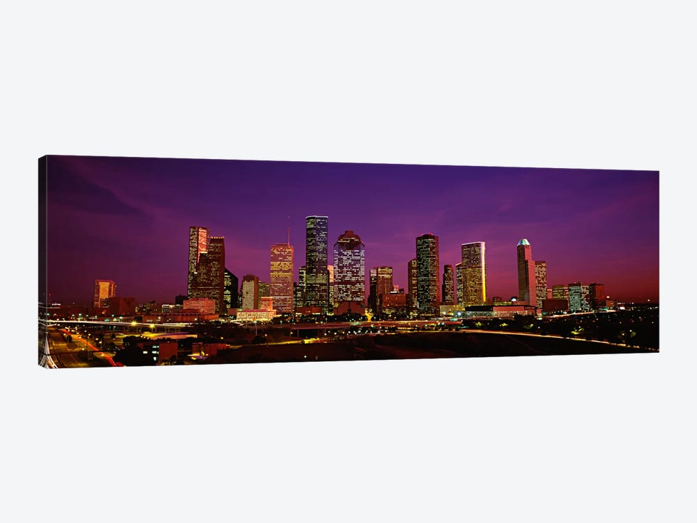 Buildings lit up at night, Houston, Texas, USA by Panoramic Images 1-piece Canvas Art