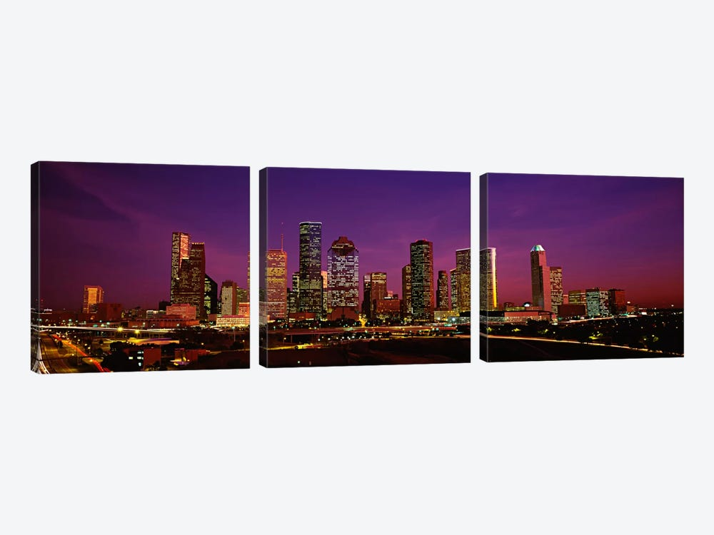 Buildings lit up at night, Houston, Texas, USA by Panoramic Images 3-piece Canvas Wall Art