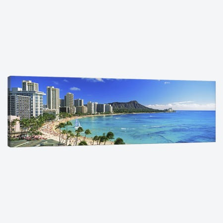 Palm trees on the beach, Diamond Head, Waikiki Beach, Oahu, Honolulu, Hawaii, USA #2 Canvas Print #PIM9806} by Panoramic Images Canvas Print