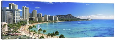 Palm trees on the beach, Diamond Head, Waikiki Beach, Oahu, Honolulu, Hawaii, USA #2 Canvas Art Print