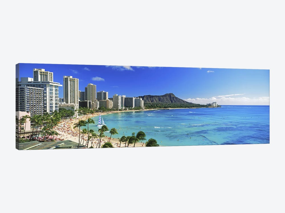 Palm trees on the beach, Diamond Head, Waikiki Beach, Oahu, Honolulu, Hawaii, USA #2 by Panoramic Images 1-piece Canvas Art