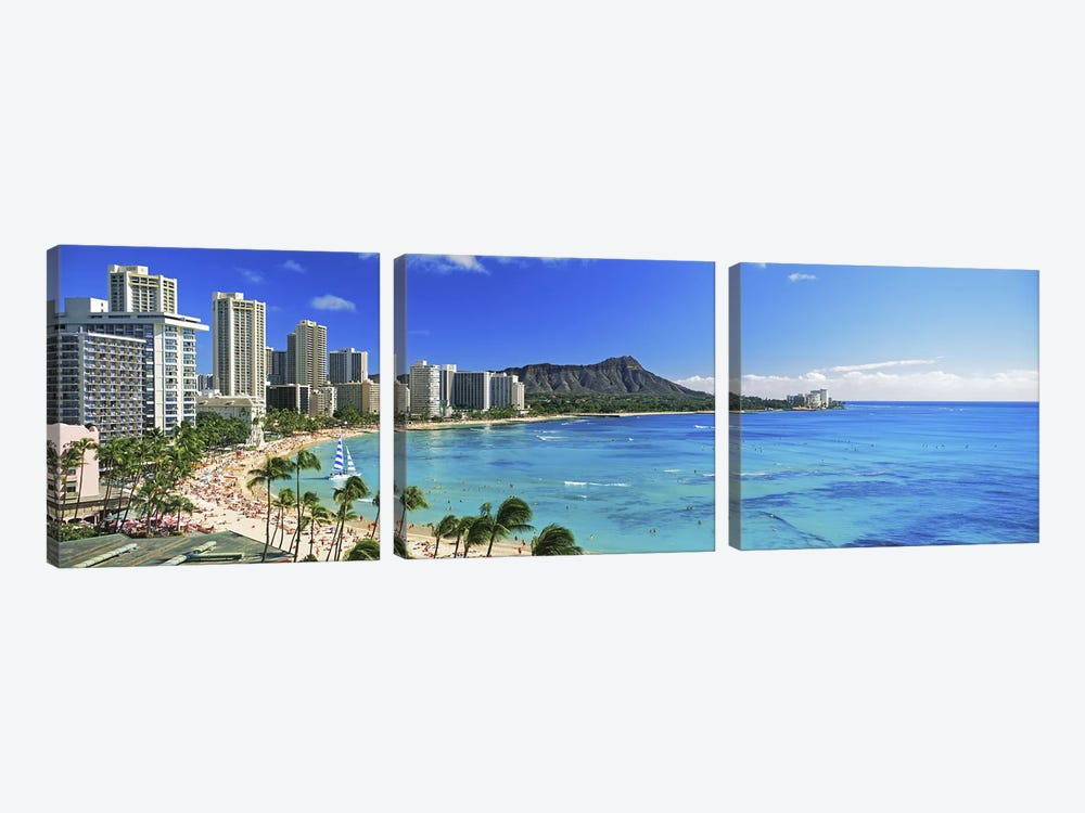Palm trees on the beach, Diamond Head, Waikiki Beach, Oahu, Honolulu, Hawaii, USA #2 by Panoramic Images 3-piece Canvas Art