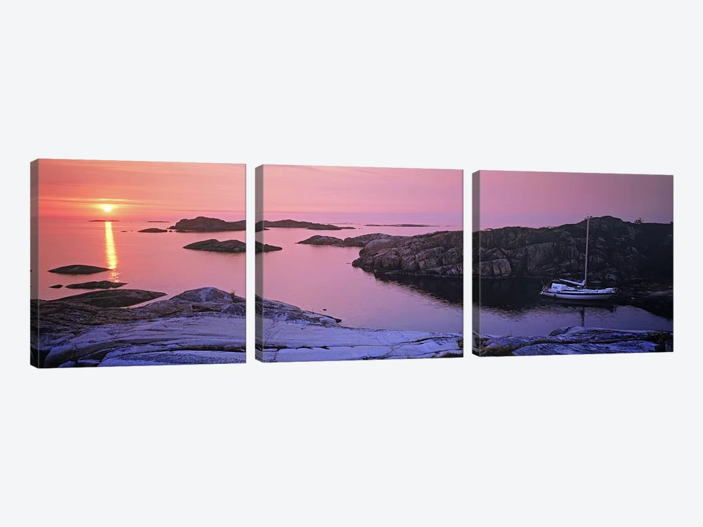 Sailboat on the coast, Lilla Nassa, Stockholm Archipelago, Sweden by Panoramic Images 3-piece Art Print