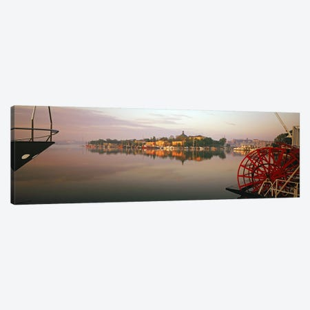 Sternwheeler in a river, Skeppsholmen, Nybroviken, Stockholm, Sweden 3-Piece Canvas #PIM9812} by Panoramic Images Canvas Print