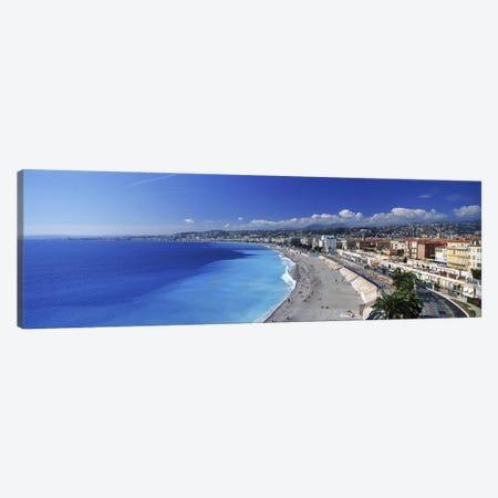 Coastal Landscape Featuring Quai des Etats-Unis Section Of Promenade des Anglais, Nice, France 3-Piece Canvas #PIM9814} by Panoramic Images Canvas Wall Art