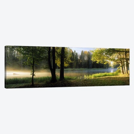 Morning Mist Rising from The Dal River In A Forest Landscape, Sweden Canvas Print #PIM9815} by Panoramic Images Canvas Art