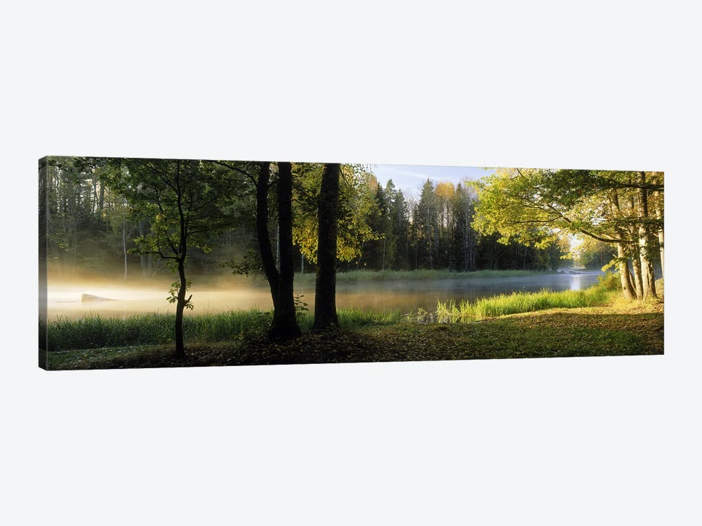 Morning Mist Rising from The Dal River In A Forest Landscape, Sweden by Panoramic Images 1-piece Canvas Art