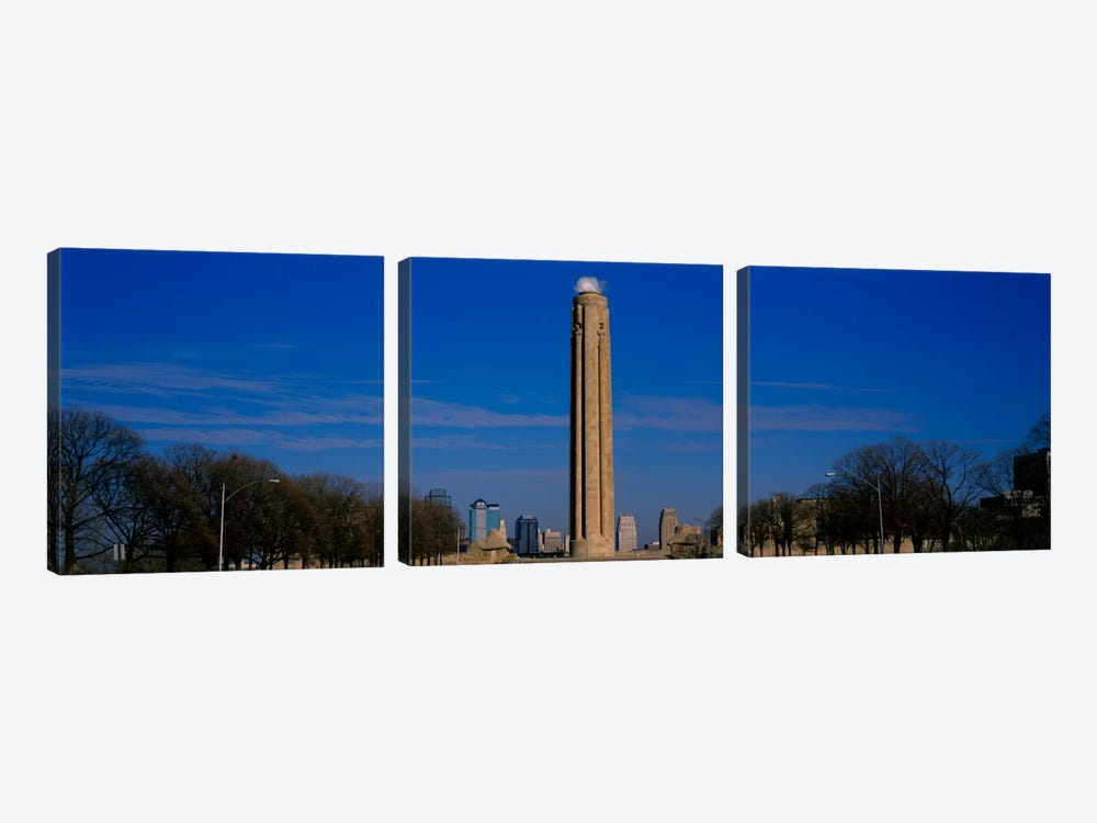Low angle view of a monument in a park, Liberty Memorial, Kansas City, Missouri, USA by Panoramic Images 3-piece Canvas Art Print
