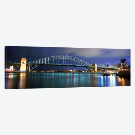 Sydney Harbour Bridge with the Sydney Opera House in the background, Sydney Harbor, Sydney, New South Wales, Australia Canvas Print #PIM9823} by Panoramic Images Canvas Wall Art