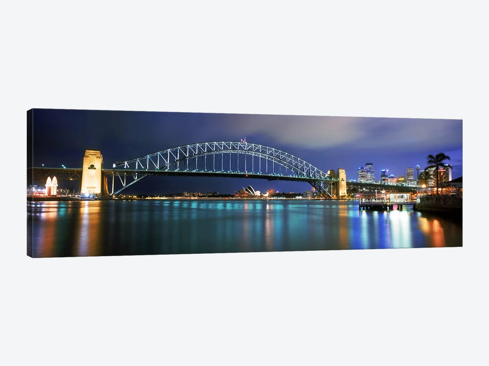 Sydney Harbour Bridge with the Sydney Opera House in the background, Sydney Harbor, Sydney, New South Wales, Australia by Panoramic Images 1-piece Canvas Print