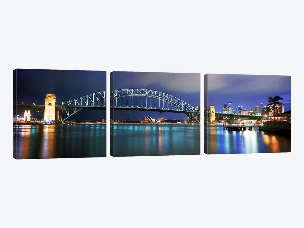 Sydney Harbour Bridge with the Sydney Opera House in the background, Sydney Harbor, Sydney, New South Wales, Australia by Panoramic Images 3-piece Art Print