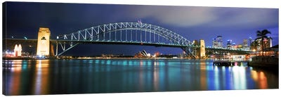 Sydney Harbour Bridge with the Sydney Opera House in the background, Sydney Harbor, Sydney, New South Wales, Australia Canvas Art Print
