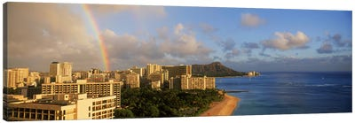 Rainbow over the beach, Diamond Head, Waikiki Beach, Oahu, Honolulu, Hawaii, USA Canvas Art Print