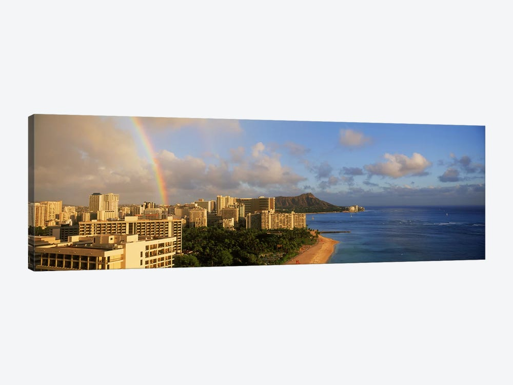 Rainbow over the beach, Diamond Head, Waikiki Beach, Oahu, Honolulu, Hawaii, USA by Panoramic Images 1-piece Art Print