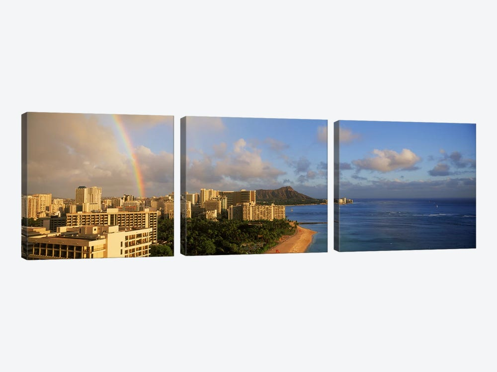 Rainbow over the beach, Diamond Head, Waikiki Beach, Oahu, Honolulu, Hawaii, USA by Panoramic Images 3-piece Art Print