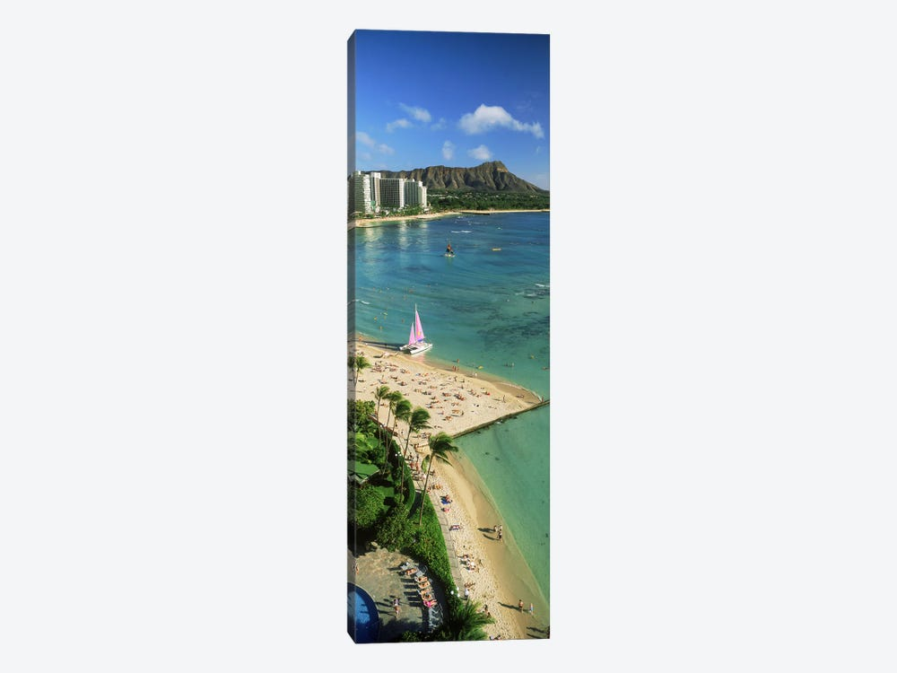 Aerial view of a beachDiamond Head, Waikiki Beach, Oahu, Honolulu, Hawaii, USA by Panoramic Images 1-piece Canvas Artwork