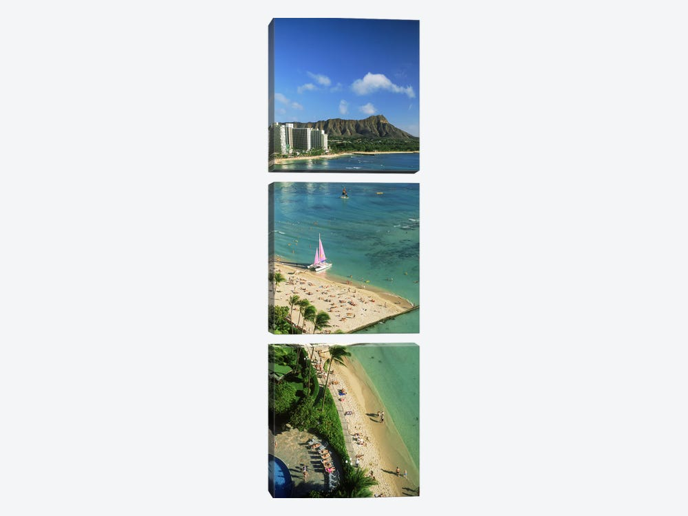 Aerial view of a beachDiamond Head, Waikiki Beach, Oahu, Honolulu, Hawaii, USA by Panoramic Images 3-piece Canvas Art