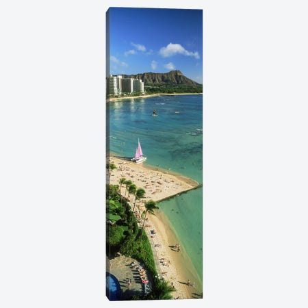Aerial view of a beachDiamond Head, Waikiki Beach, Oahu, Honolulu, Hawaii, USA Canvas Print #PIM9828} by Panoramic Images Canvas Wall Art