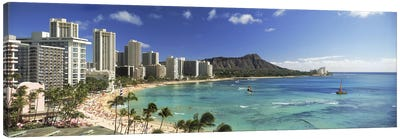 Buildings along the coastlineDiamond Head, Waikiki Beach, Oahu, Honolulu, Hawaii, USA Canvas Art Print