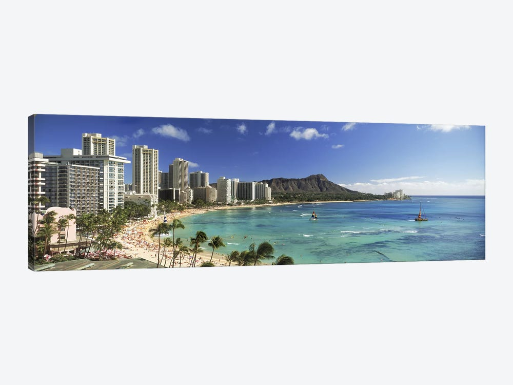 Buildings along the coastlineDiamond Head, Waikiki Beach, Oahu, Honolulu, Hawaii, USA 1-piece Art Print