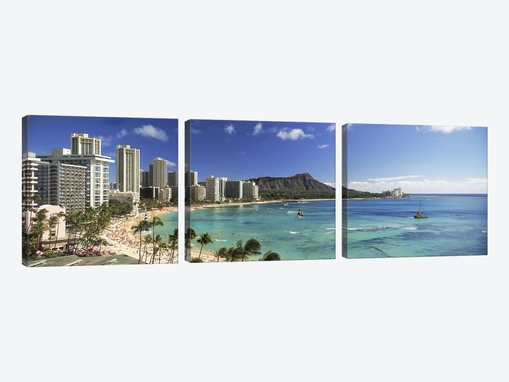 Buildings along the coastlineDiamond Head, Waikiki Beach, Oahu, Honolulu, Hawaii, USA 3-piece Art Print
