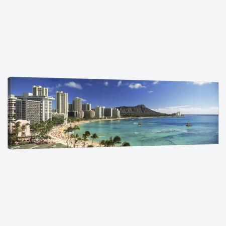 Buildings along the coastlineDiamond Head, Waikiki Beach, Oahu, Honolulu, Hawaii, USA Canvas Print #PIM9829} by Panoramic Images Canvas Wall Art