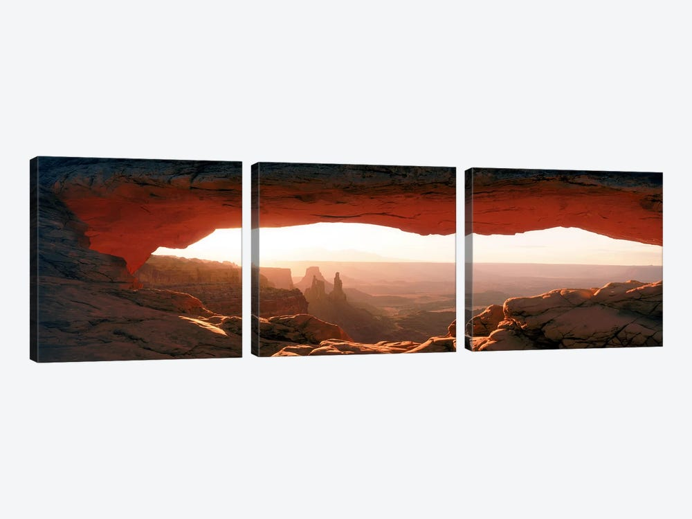 Sunrise Through Mesa Arch, Canyonlands National Park, Utah, USA by Panoramic Images 3-piece Canvas Artwork