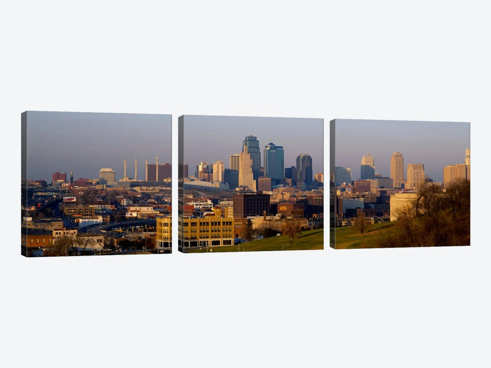 High angle view of a cityscape, Kansas City, Missouri, USA by Panoramic Images 3-piece Canvas Art Print