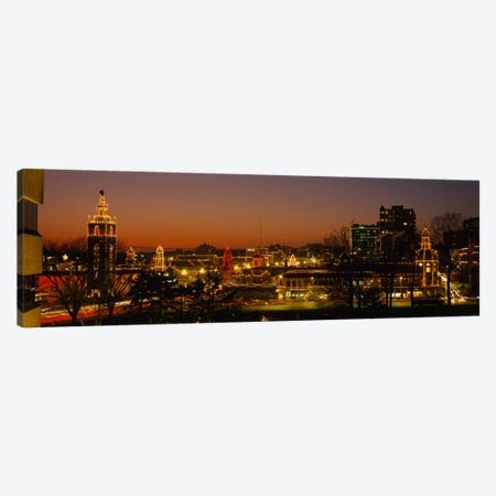 Buildings lit up at night, La Giralda, Kansas City, Missouri, USA Canvas Print #PIM985} by Panoramic Images Canvas Artwork