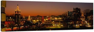 Buildings lit up at night, La Giralda, Kansas City, Missouri, USA Canvas Print #PIM985