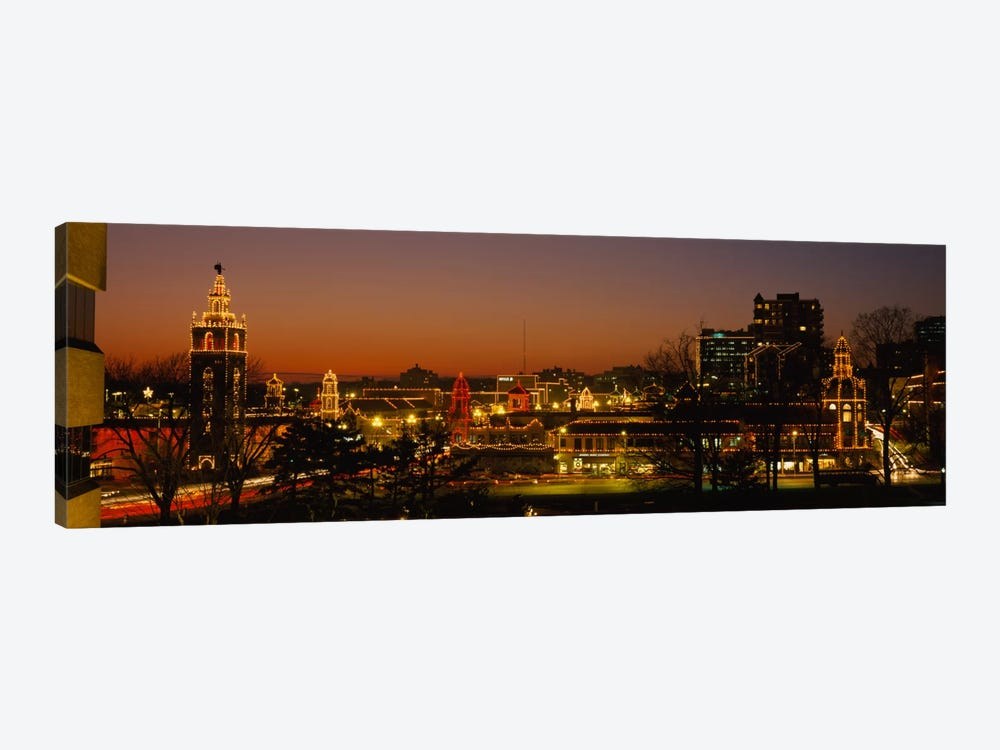 Buildings lit up at night, La Giralda, Kansas City, Missouri, USA by Panoramic Images 1-piece Art Print