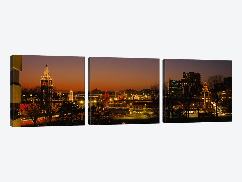 Buildings lit up at night, La Giralda, Kansas City, Missouri, USA by Panoramic Images 3-piece Canvas Print
