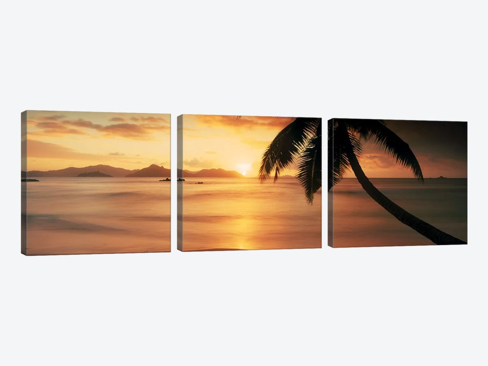 Silhouette of a palm tree on the beach at sunsetAnse Severe, La Digue Island, Seychelles 3-piece Canvas Artwork