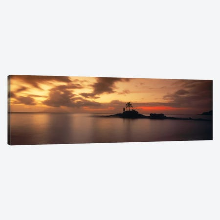Silhouette of a palm tree on an island at sunsetAnse Severe, La Digue Island, Seychelles Canvas Print #PIM9862} by Panoramic Images Canvas Art