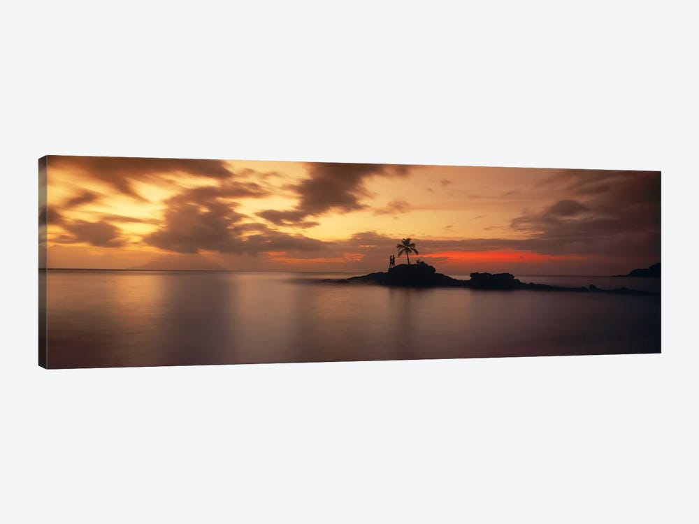 Silhouette of a palm tree on an island at sunsetAnse Severe, La Digue Island, Seychelles 1-piece Canvas Wall Art