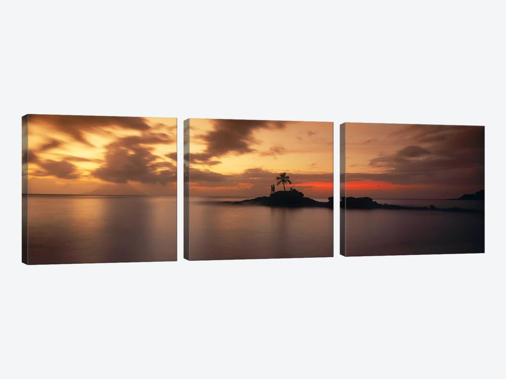 Silhouette of a palm tree on an island at sunsetAnse Severe, La Digue Island, Seychelles 3-piece Canvas Art