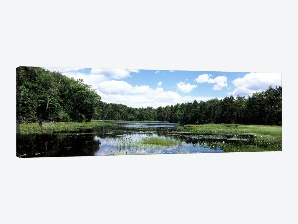 Reflection of clouds in a pondAdirondack Mountains, New York State, USA 1-piece Canvas Wall Art