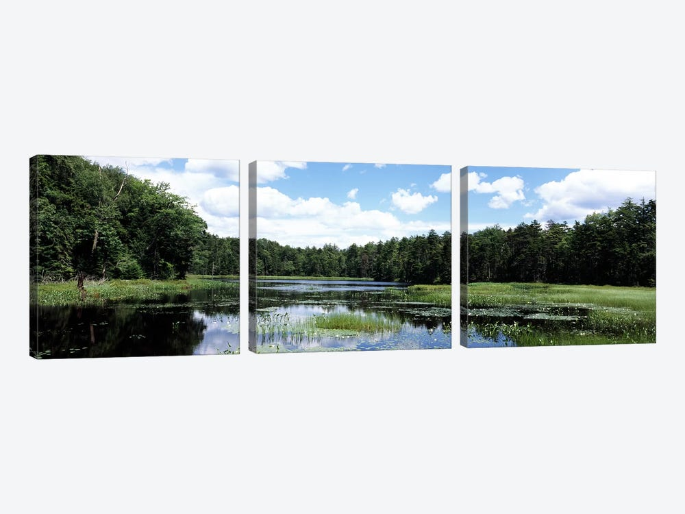 Reflection of clouds in a pondAdirondack Mountains, New York State, USA by Panoramic Images 3-piece Canvas Artwork
